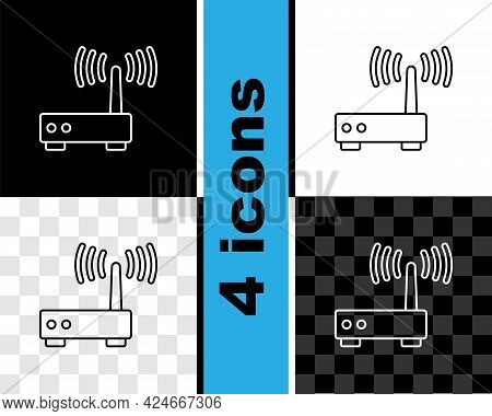 Set Line Router And Wi-fi Signal Icon Isolated On Black And White, Transparent Background. Wireless