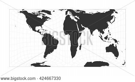 Map Of The World. Gringorten Square Equal-area Projection. Globe With Latitude And Longitude Net. Wo