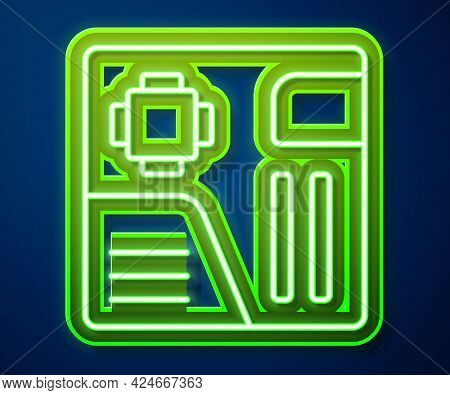 Glowing Neon Line Electronic Computer Components Motherboard Digital Chip Integrated Science Icon Is