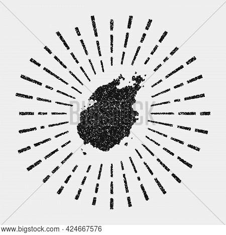 Vintage Map Of Paros. Grunge Sunburst Around The Island. Black Paros Shape With Sun Rays On White Ba
