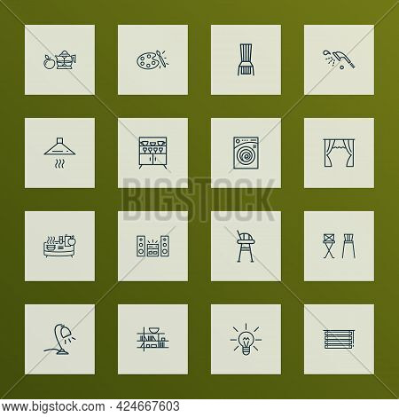 House Icons Line Style Set With Lightbulb, Table Lamp, Barstool And Other Jalousie Elements. Isolate