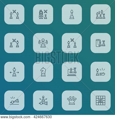 Hobby Icons Line Style Set With Leadership, Mobile Chess, Online Chess And Other Corona Elements. Is