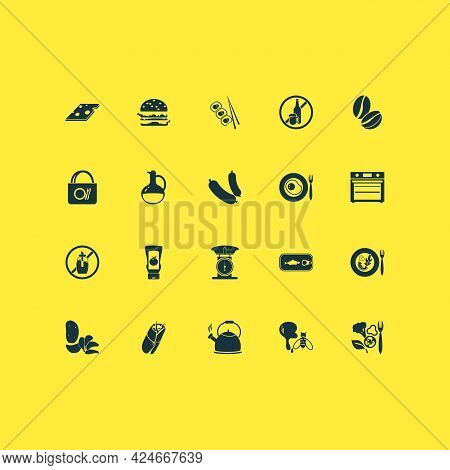 Eating Icons Set With Sugar Free, Burger, Sausage And Other Bottle Elements. Isolated Vector Illustr