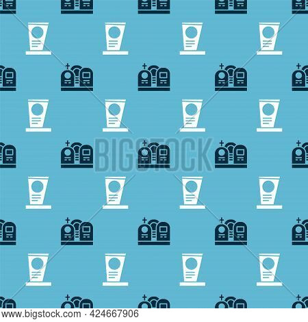 Set Grave With Tombstone And Grave With Tombstone On Seamless Pattern. Vector