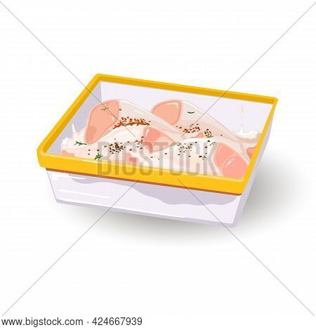 Yummy Fresh Chicken Parts Under And Herbs. Vector Sheet Pan Full Of Protein Delicacy, Hen Prepared F