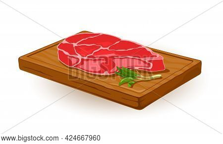 Uncooked Meat Ribeye Served On Wooden Board. Vector Tasty Fresh Part Of Beef, Culinary And Cooking A
