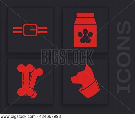 Set Cat, Collar With Name Tag, Bag Of Food For Pet And Dog Bone Icon. Vector