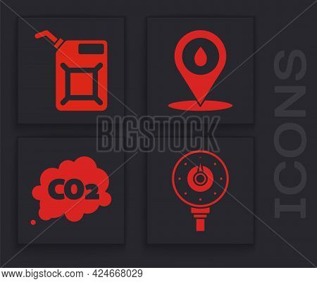 Set Motor Gas Gauge, Canister For Gasoline, Refill Petrol Fuel Location And Co2 Emissions In Cloud I