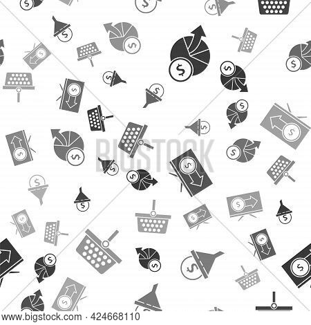 Set Money And Diagram Graph, Lead Management, Monitor With Dollar And Shopping Basket On Seamless Pa