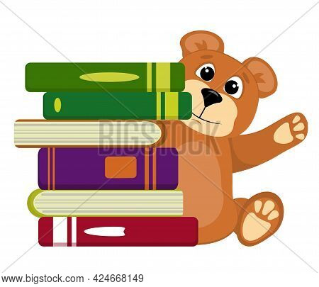 Vector Illustration On The Back To School Theme.teddy Bear With Textbooks, Isolated On A White Backg