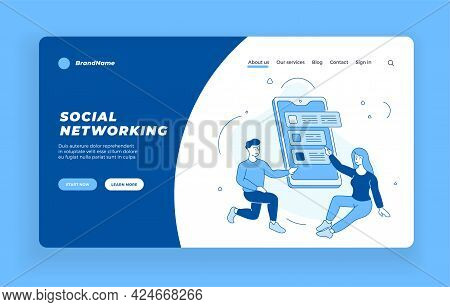 Communication On Social Networks. People Create Personal Accounts And Set Up Online Chat. Web Discus