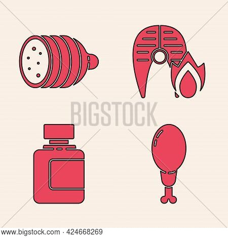 Set Chicken Leg, Salami Sausage, Grilled Fish Steak And Fire Flame And Sauce Bottle Icon. Vector