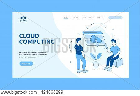 Highspeed Web Cloud Computing. People Download Data From Digital Storage. Mobile Application Connect