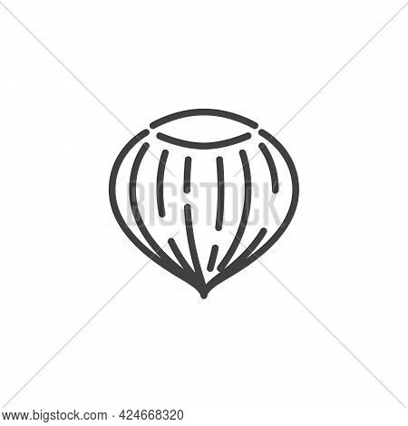 Hazelnut Shell Line Icon. Linear Style Sign For Mobile Concept And Web Design. Hazelnut Nut Outline