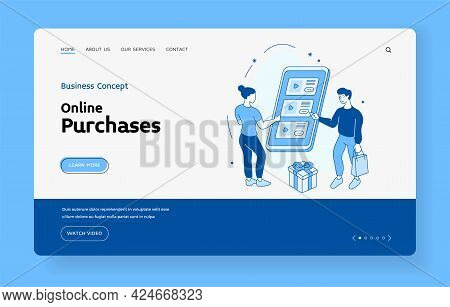 Online Shopping In Mobile Application. People Choosing Products In Web Store. Marketing Gifts For Lo