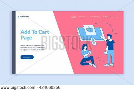 Adding Products To Online Shopping Cart. People Buy Product In Mobile Application. User Friendly Int
