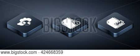 Set Isometric Cloud And Shield, Doc File Document And Document And Lock Icon. Vector