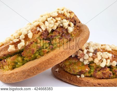 Delicious Pastries With Pistachio Curd And Nuts.