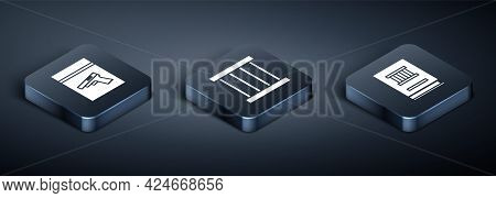 Set Isometric Evidence Bag And Pistol Or Gun, Law Book And Prison Window Icon. Vector