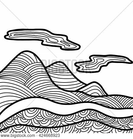 Abstract Mountain Range Landscape. Panoramic View. Square Composition. Simple Line Illustration Vect