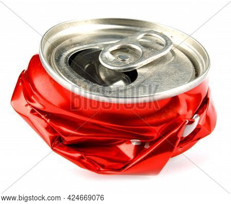 Krasnoyarsk, Russia - June 04, 2021: A Crumpled Coca-cola Can Is Isolated On A White Background.