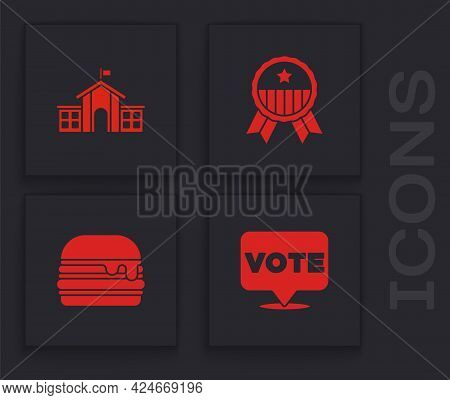 Set Vote, United States Capitol Congress, Medal With Star And Burger Icon. Vector