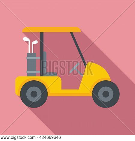 Golf Cart Course Icon. Flat Illustration Of Golf Cart Course Vector Icon For Web Design