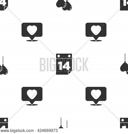 Set Balloons In Form Of Heart, Calendar With February 14 And Like And On Seamless Pattern. Vector