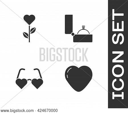 Set Heart, Shape In Flower, Shaped Love Glasses And Diamond Engagement Ring Icon. Vector