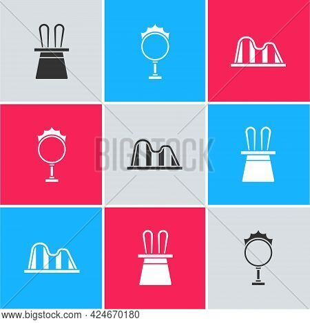 Set Magician Hat And Rabbit Ears, Circus Fire Hoop And Roller Coaster Icon. Vector