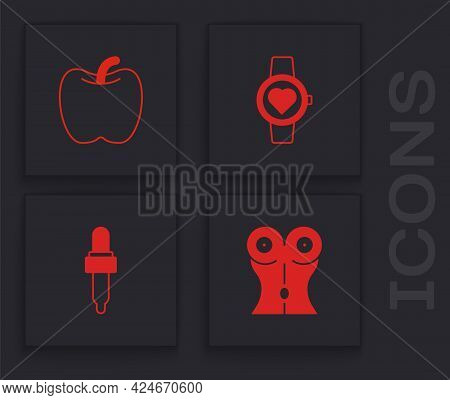 Set Women Waist, Apple, Smart Watch And Pipette With Oil Icon. Vector