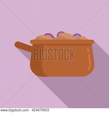 Greece Food Saucepan Icon. Flat Illustration Of Greece Food Saucepan Vector Icon For Web Design