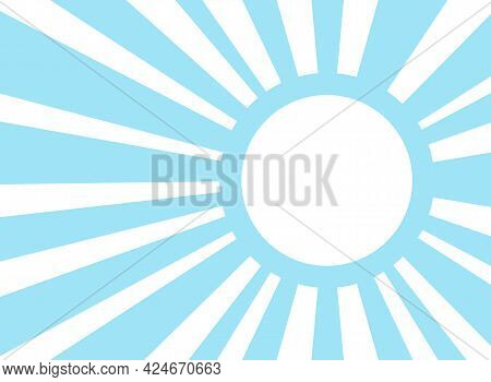 Sunlight Retro Background With Vintage Round Frame For Text. Blue And White Color Burst Background.