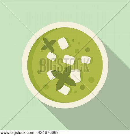 Greece Food Green Soup Icon. Flat Illustration Of Greece Food Green Soup Vector Icon For Web Design