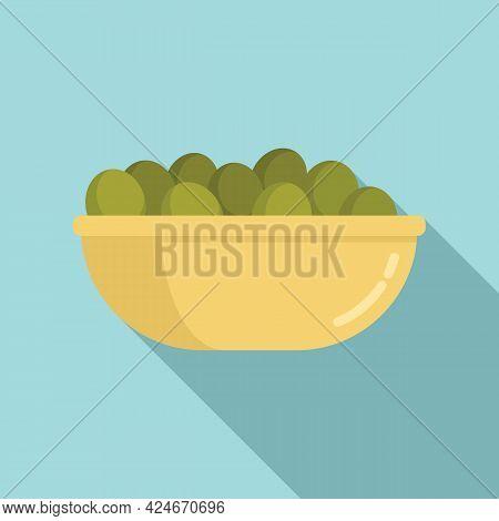 Greece Food Olive Bowl Icon. Flat Illustration Of Greece Food Olive Bowl Vector Icon For Web Design