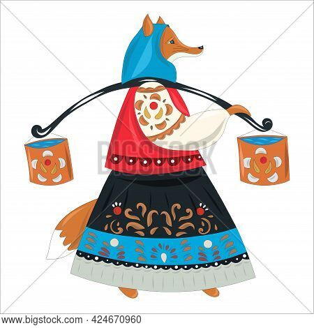 Red Fox In A Russian Folk Costume With A Yoke And Buckets Of Water. Russian, Ukrainian Or Berorussia
