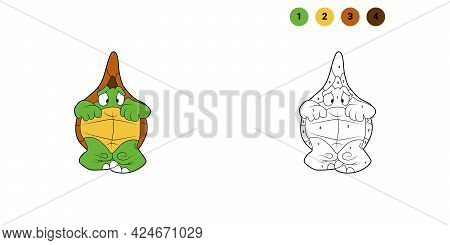Coloring Book For Kids. Cartoon Character. Frightened Turtle. Isolated On White Background. Animal T