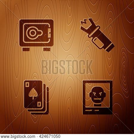 Set Wanted Poster, Safe, Playing Cards And Police Electric Shocker On Wooden Background. Vector