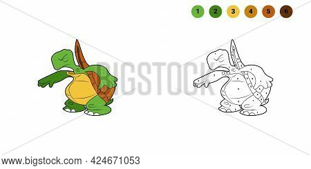 Coloring Book For Kids. Cartoon Character. Turtle Got Scared And Closed His Eyes. Black Contour Silh