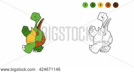 Coloring Book For Kids. Cartoon Character. The Turtle Goes Forward. Black Contour Silhouette. Isolat