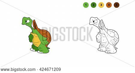 Coloring Book For Kids. Cartoon Character. Turtle Shrugs. Black Contour Silhouette. Isolated On Whit
