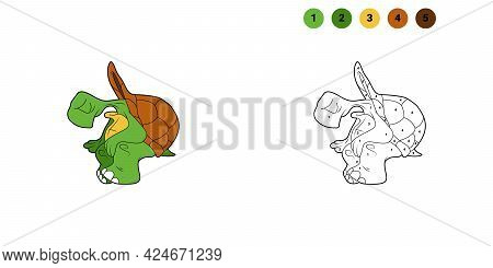 Coloring Book For Kids. Cartoon Character. Turtle Sitting. Black Contour Silhouette. Isolated On Whi