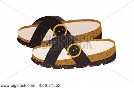 Women's Trendy Flat Sandals. Summer Backless Shoes With Crossed Straps, Pin Buckle And Cozy Footbed.