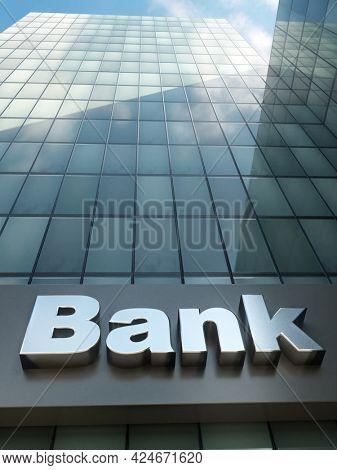 3D rendering of closeup of Bank building with glass pane facade