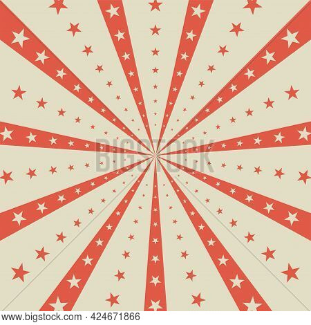 Sunlight Horizontal Background. Red And Beige Color Burst Background With Shining Stars. Vector Illu