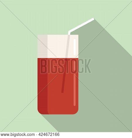 Pomegranate Fresh Juice Icon. Flat Illustration Of Pomegranate Fresh Juice Vector Icon For Web Desig