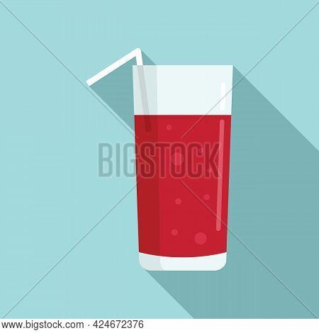 Cherry Fresh Juice Icon. Flat Illustration Of Cherry Fresh Juice Vector Icon For Web Design