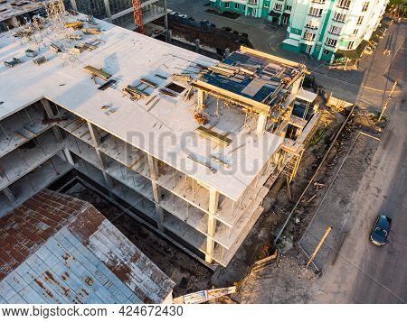 Modern Aerial Landscape With Construction Aerial For Urban Design. House Equipment. City Landscape.