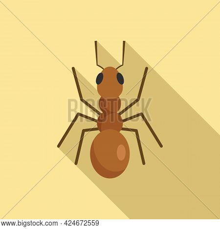 Cute Ant Icon. Flat Illustration Of Cute Ant Vector Icon For Web Design
