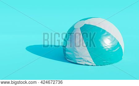 Deflated Beach Ball On Blue Background. Minimalistic Scene. End Of Summer Concept. 3d Render